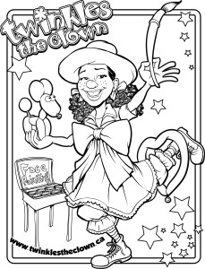 Twinkles the Clown Colouring page